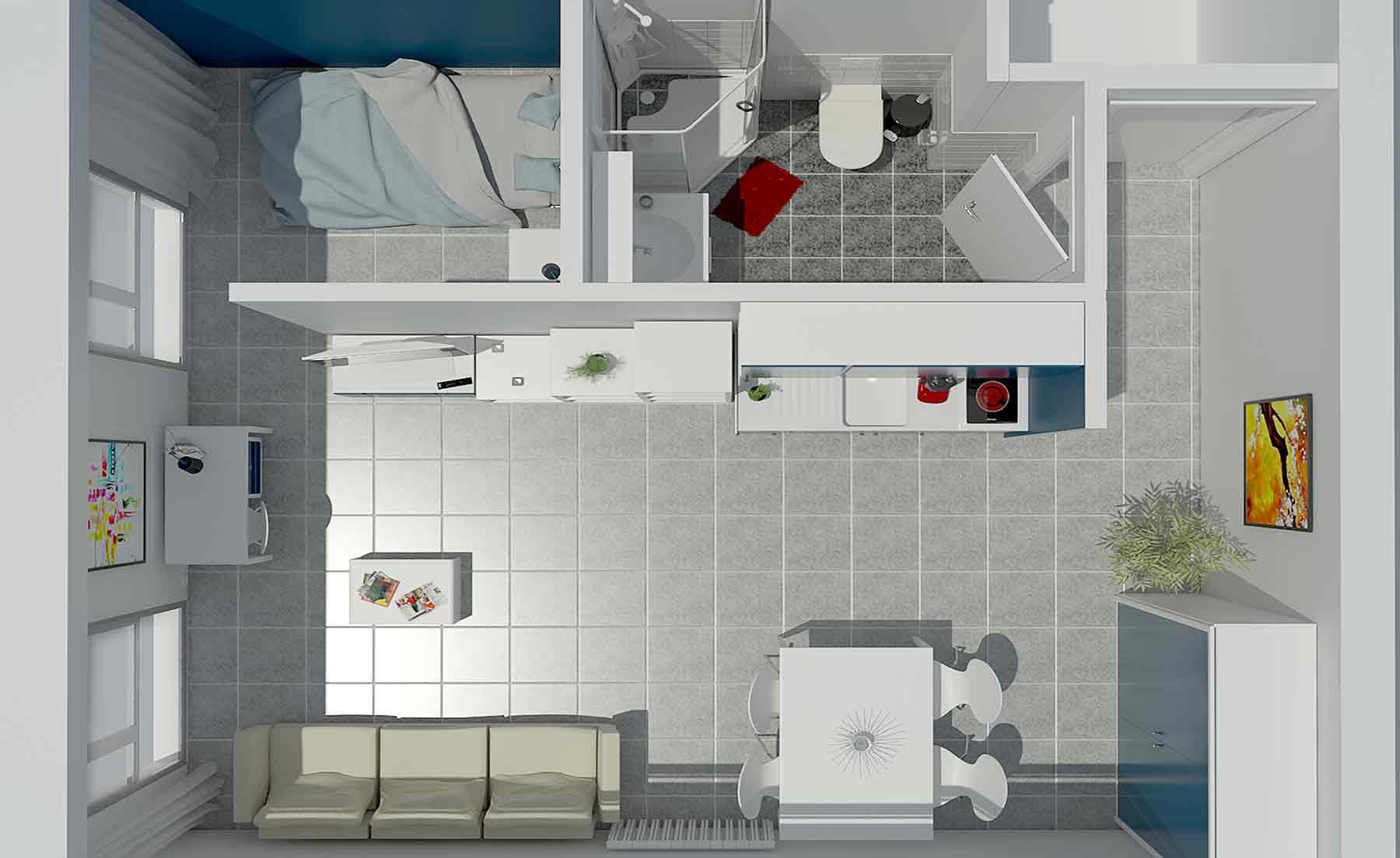 Projection Axonométrique d'un appartement